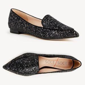 Sole Society Camilla Black Glitter Loafers